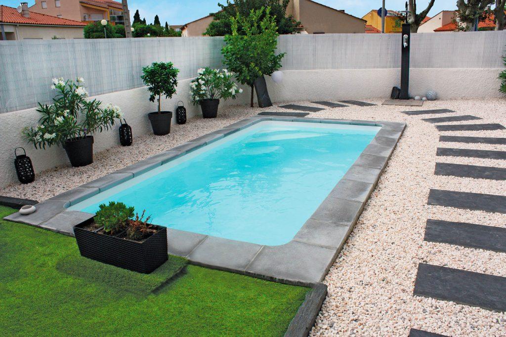 piscine coque rectangulaire tropica couverture